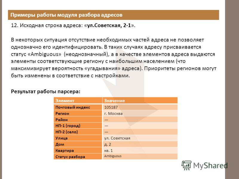 Примеры работы модуля разбора адресов 12. Исходная строка адреса: «ул.Советская, 2-1». В некоторых ситуация отсутствие необходимых частей адреса не позволяет однозначно его идентифицировать. В таких случаях адресу присваивается статус «Ambiguous» (не