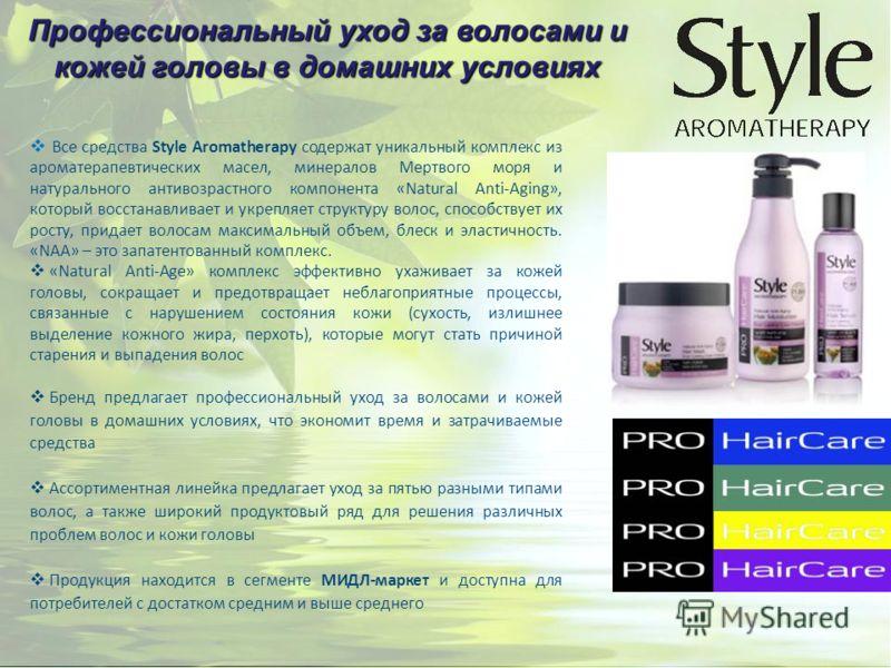 Все средства Style Aromatherapy содержат уникальный комплекс из ароматерапевтических масел, минералов Мертвого моря и натурального антивозрастного компонента «Natural Anti-Aging», который восстанавливает и укрепляет структуру волос, способствует их р