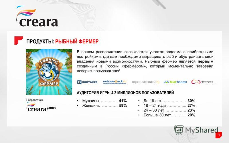 ПРОДУКТЫ: РЫБНЫЙ ФЕРМЕР 10 В вашем распоряжении оказывается участок водоема с прибрежными постройками, где вам необходимо выращивать рыб и обустраивать свои владения новыми возможностями. Рыбный фермер является первым созданным в России «фермером», к