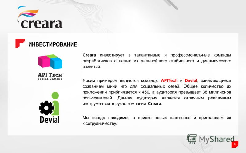 ИНВЕСТИРОВАНИЕ 5 Creara инвестирует в талантливые и профессиональные команды разработчиков с целью их дальнейшего стабильного и динамического развития. Ярким примером являются команды APITech и Devial, занимающиеся созданием мини игр для социальных с