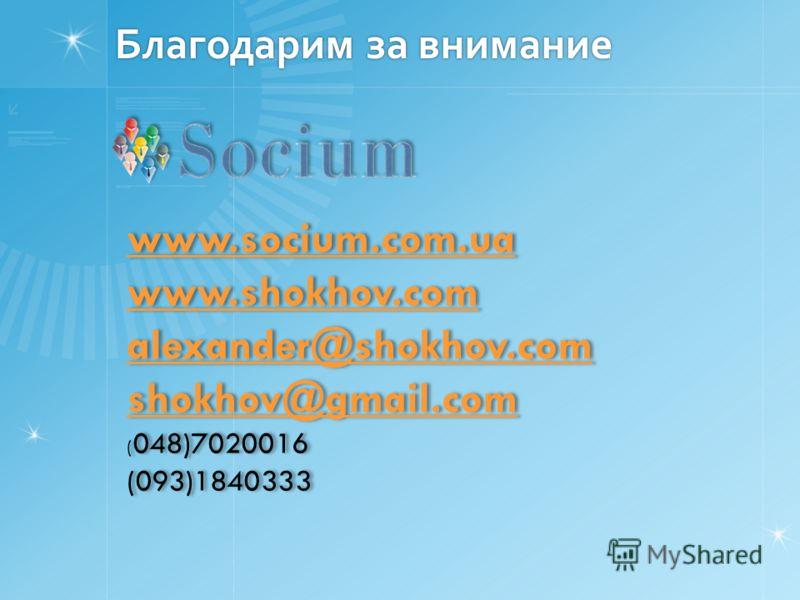 Благодарим за внимание www.socium.com.ua www.shokhov.com alexander@shokhov.com shokhov@gmail.com ( 048)7020016 (093)1840333 www.socium.com.ua www.shokhov.com alexander@shokhov.com shokhov@gmail.com ( 048)7020016 (093)1840333