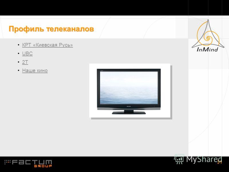 1.31 31 Профиль телеканалов КРТ «Киевская Русь» UBC 2Т Наше кино