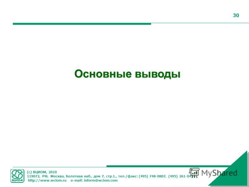 (с) ВЦИОМ, 2010 119072, РФ, Москва, Болотная наб., дом 7, стр.1., тел./факс: (495) 748-0807, (495) 261-0414 http://www.wciom.ru e-mail: inform@wciom.com 30 Основные выводы