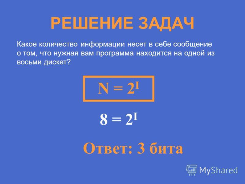 РЕШЕНИЕ ЗАДАЧ Какое количество информации несет в себе сообщение о том, что нужная вам программа находится на одной из восьми дискет? N = 2 I 8 = 2 I Ответ: 3 бита