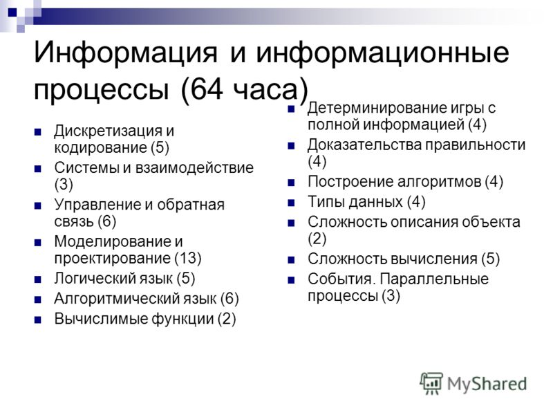 Информация и информационные процессы (64 часа) Дискретизация и кодирование (5) Системы и взаимодействие (3) Управление и обратная связь (6) Моделирование и проектирование (13) Логический язык (5) Алгоритмический язык (6) Вычислимые функции (2) Детерм