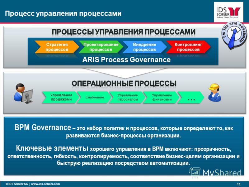 BPM Governance – это набор политик и процессов, которые определяют то, как развиваются бизнес-процессы организации. Ключевые элементы хорошего управления в BPM включают: прозрачность, ответственность, гибкость, контролируемость, соответствие бизнес-ц