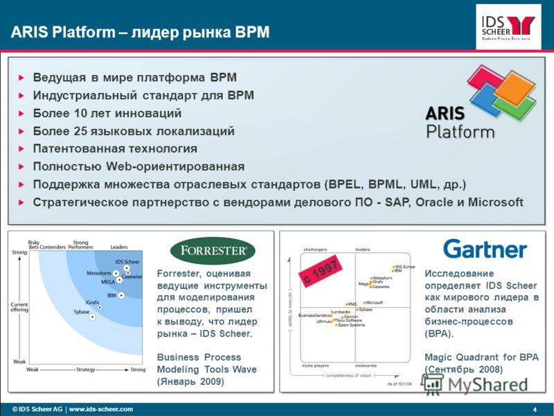 ARIS Platform – лидер рынка BPM © IDS Scheer AG www.ids-scheer.com 4 Исследование определяет IDS Scheer как мирового лидера в области анализа бизнес-процессов (BPA). Magic Quadrant for BPA (Сентябрь 2008) с 1997 Ведущая в мире платформа BPM Индустриа