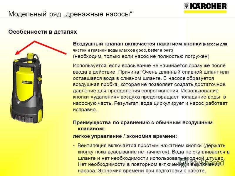 Воздушный клапан включается нажатием кнопки (насосы для чистой и грязной воды классов good, better и best) (необходим, только если насос не полностью погружен) Используется, если всасывание не начинается сразу же после ввода в действие. Причина: Очен