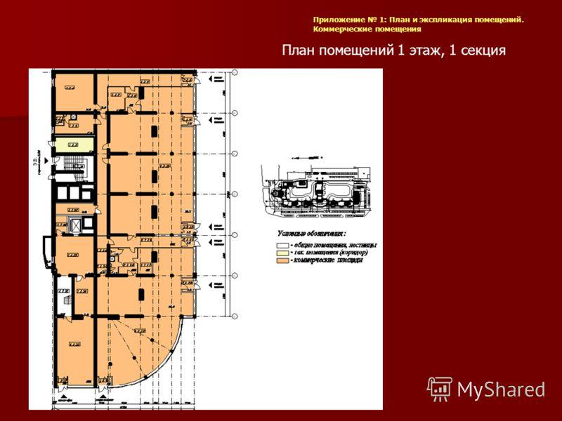 План помещений 1 этаж, 1 секция Приложение 1: План и экспликация помещений. Коммерческие помещения