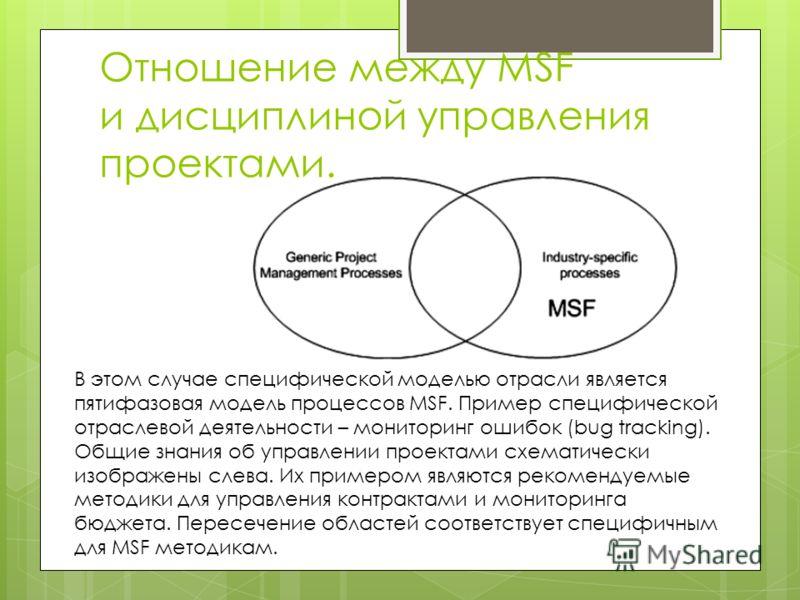 Отношение между MSF и дисциплиной управления проектами. В этом случае специфической моделью отрасли является пятифазовая модель процессов MSF. Пример специфической отраслевой деятельности – мониторинг ошибок (bug tracking). Общие знания об управлении