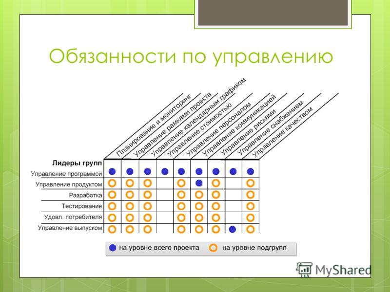 Обязанности по управлению проектами
