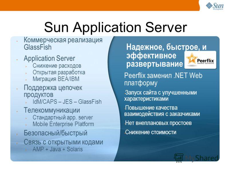 8 Sun Application Server Коммерческая реализация GlassFish Application Server > Снижение расходов > Открытая разработка > Миграция BEA/IBM Поддержка цепочек продуктов > IdM/CAPS – JES – GlassFish Телекоммуникации > Стандартный app. server > Mobile En