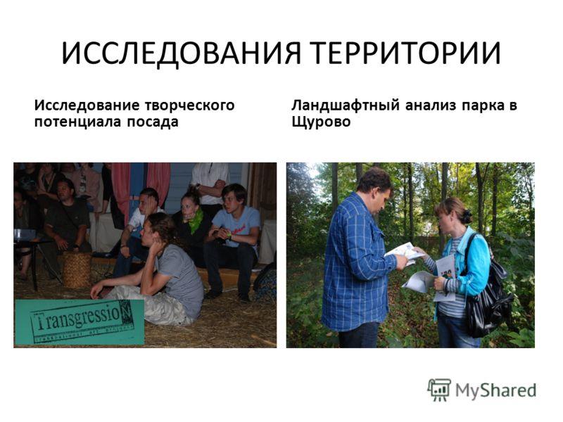 ИССЛЕДОВАНИЯ ТЕРРИТОРИИ Исследование творческого потенциала посада Ландшафтный анализ парка в Щурово