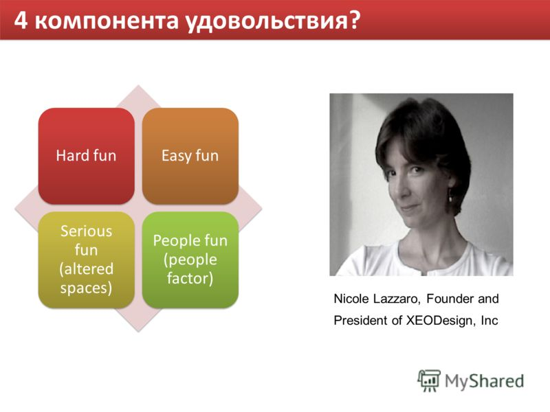 4 компонента удовольствия? Hard funEasy fun Serious fun (altered spaces) People fun (people factor) Nicole Lazzaro, Founder and President of XEODesign, Inc