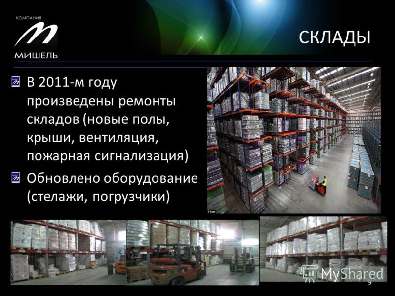 СКЛАДЫ 15.05.20139 В 2011-м году произведены ремонты складов (новые полы, крыши, вентиляция, пожарная сигнализация) Обновлено оборудование (стелажи, погрузчики)