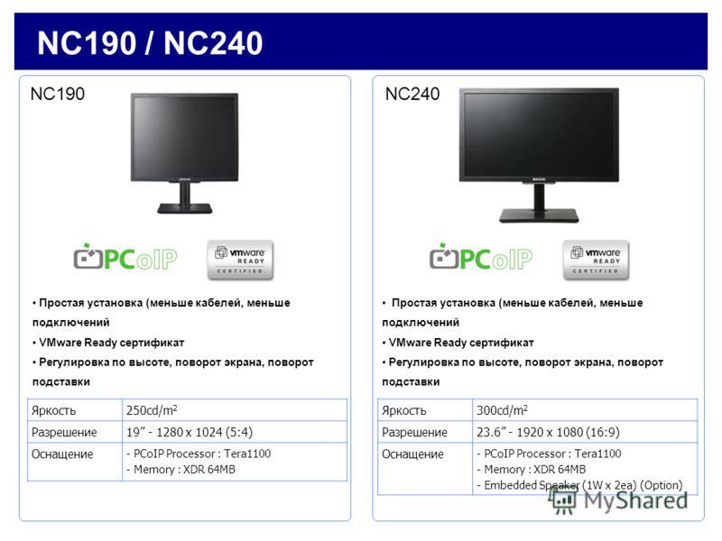 Яркость250cd/m 2 Разрешение19 - 1280 x 1024 (5:4) Оснащение - PCoIP Processor : Tera1100 - Memory : XDR 64MB NC190 / NC240 Яркость300cd/m 2 Разрешение23.6 - 1920 x 1080 (16:9) Оснащение - PCoIP Processor : Tera1100 - Memory : XDR 64MB - Embedded Spea