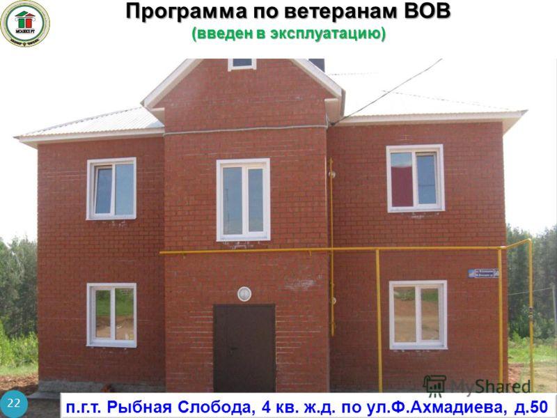 Программа по ветеранам ВОВ (введен в эксплуатацию) 22 п.г.т. Рыбная Слобода, 4 кв. ж.д. по ул.Ф.Ахмадиева, д.50