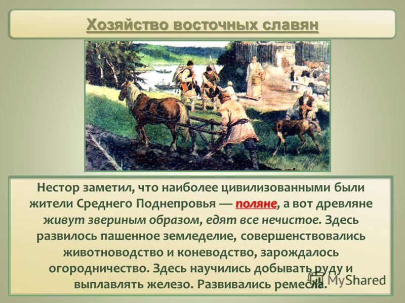 поляне Нестор заметил, что наиболее цивилизованными были жители Среднего Поднепровья поляне, а вот древляне живут звериным образом, едят все нечистое. Здесь развилось пашенное земледелие, совершенствовались животноводство и коневодство, зарождалось о