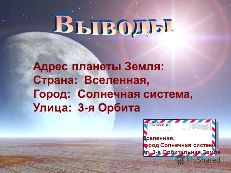 Адрес планеты Земля: Страна: Вселенная, Город: Солнечная система, Улица: 3-я Орбита Россия, город Рыбинск Ул.1-я Выборгская, д51а Вселенная, город Солнечная система, ул. 3-я Орбитальная,Земля