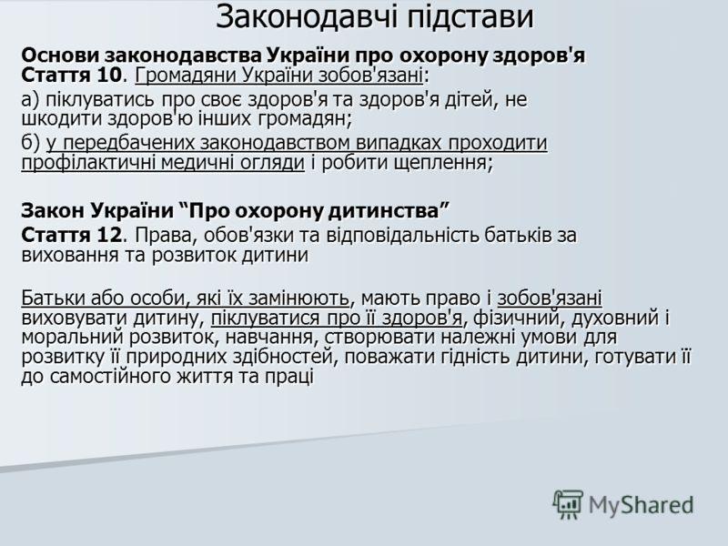 Законодавчі підстави Основи законодавства України про охорону здоров'я Стаття 10. Громадяни України зобов'язані: а) піклуватись про своє здоров'я та здоров'я дітей, не шкодити здоров'ю інших громадян; б) у передбачених законодавством випадках проходи