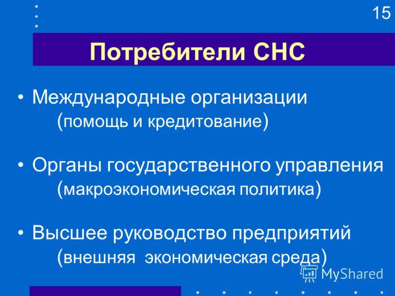 15 Потребители СНС Международные организации ( помощь и кредитование ) Органы государственного управления ( макроэкономическая политика ) Высшее руководство предприятий ( внешняя экономическая среда )