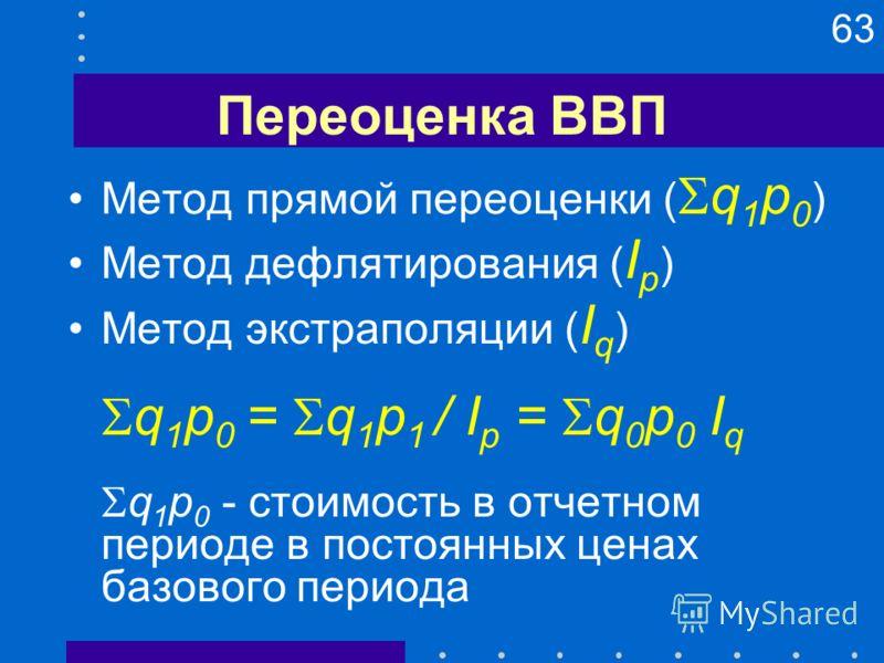 63 Переоценка ВВП Метод прямой переоценки ( q 1 p 0 ) Метод дефлятирования ( I p ) Метод экстраполяции ( I q ) q 1 p 0 = q 1 p 1 / I p = q 0 p 0 I q q 1 p 0 - стоимость в отчетном периоде в постоянных ценах базового периода