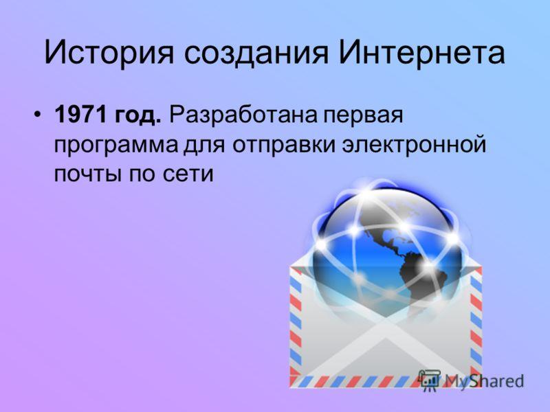 История создания Интернета 1971 год. Разработана первая программа для отправки электронной почты по сети
