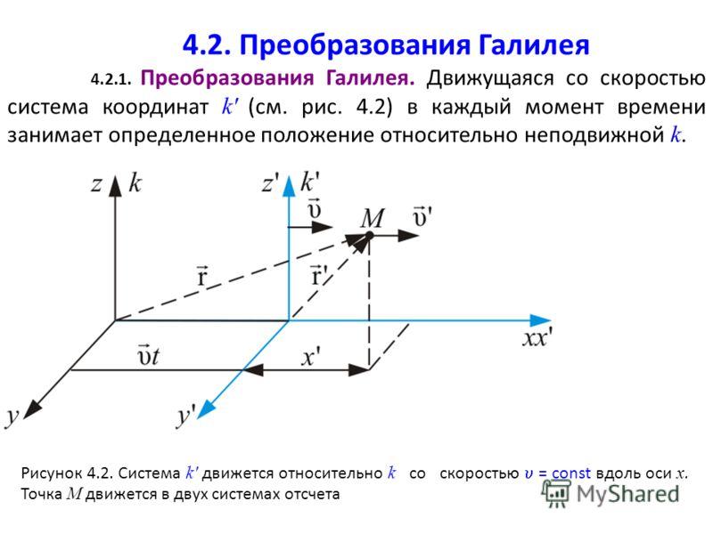 4.2. Преобразования Галилея 4.2.1. Преобразования Галилея. Движущаяся со скоростью система координат k' (см. рис. 4.2) в каждый момент времени занимает определенное положение относительно неподвижной k. Рисунок 4.2. Система k' движется относительно k