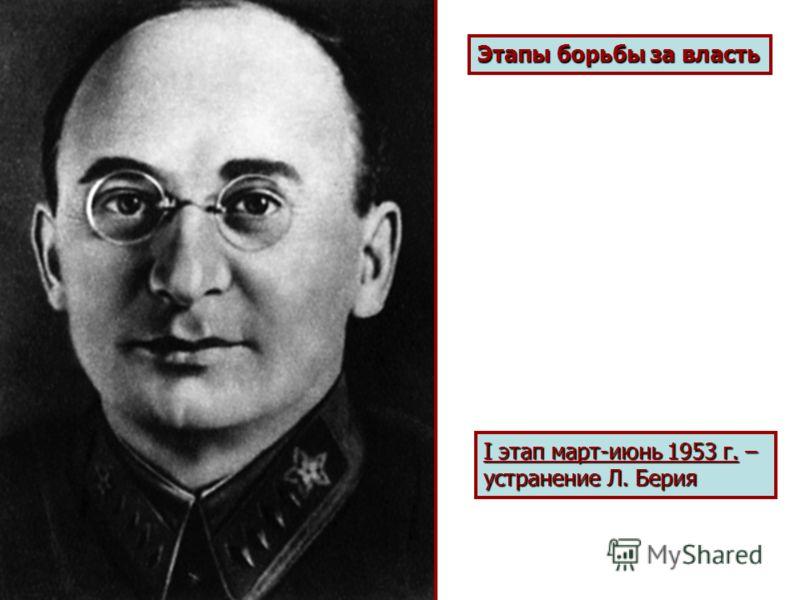 Этапы борьбы за власть I этап март-июнь 1953 г. – устранение Л. Берия