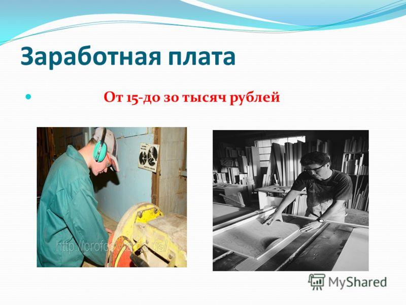 Заработная плата От 15-до з0 тысяч рублей
