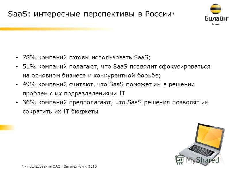 2 SaaS: интересные перспективы в России * 78% компаний готовы использовать SaaS; 51% компаний полагают, что SaaS позволит сфокусироваться на основном бизнесе и конкурентной борьбе; 49% компаний считают, что SaaS поможет им в решении проблем с их подр