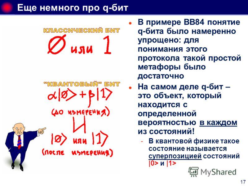 17 Еще немного про q-бит В примере ВВ84 понятие q-бита было намеренно упрощено: для понимания этого протокола такой простой метафоры было достаточно На самом деле q-бит – это объект, который находится с определенной вероятностью в каждом из состояний