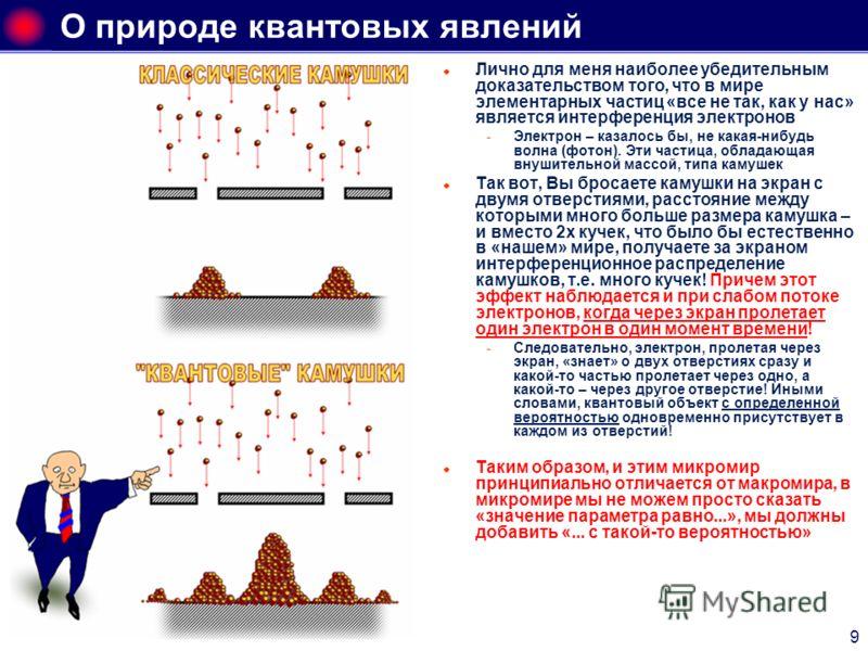 9 О природе квантовых явлений Лично для меня наиболее убедительным доказательством того, что в мире элементарных частиц «все не так, как у нас» является интерференция электронов Электрон – казалось бы, не какая-нибудь волна (фотон). Эти частица, обл
