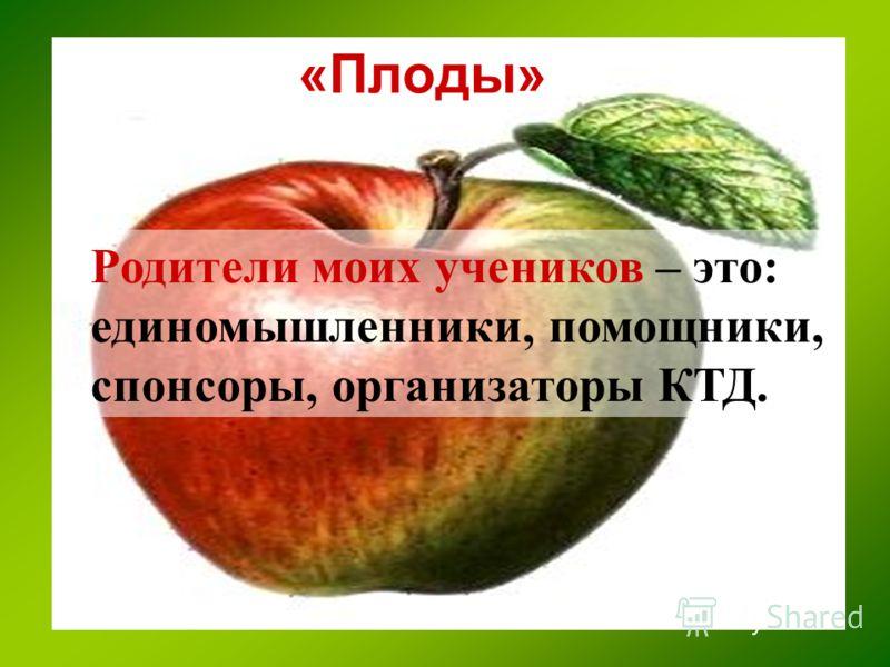 «Плоды» Родители моих учеников – это: единомышленники, помощники, спонсоры, организаторы КТД.