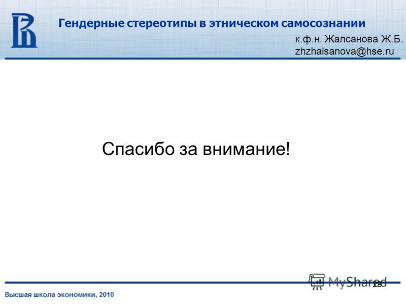 28 Гендерные стереотипы в этническом самосознании к.ф.н. Жалсанова Ж.Б. zhzhalsanova@hse.ru Спасибо за внимание!