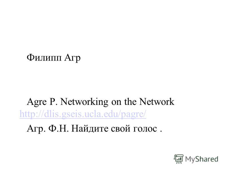 Филипп Агр Agre Р. Networking on the Network http://dlis.gseis.ucla.edu/pagre/ http://dlis.gseis.ucla.edu/pagre/ Агр. Ф.Н. Найдите свой голос.