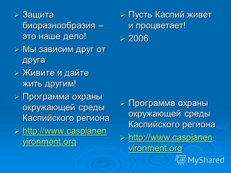 Защита биоразнообразия – это наше дело! Защита биоразнообразия – это наше дело! Мы зависим друг от друга Мы зависим друг от друга Живите и дайте жить другим! Живите и дайте жить другим! Программа охраны окружающей среды Каспийского региона Программа