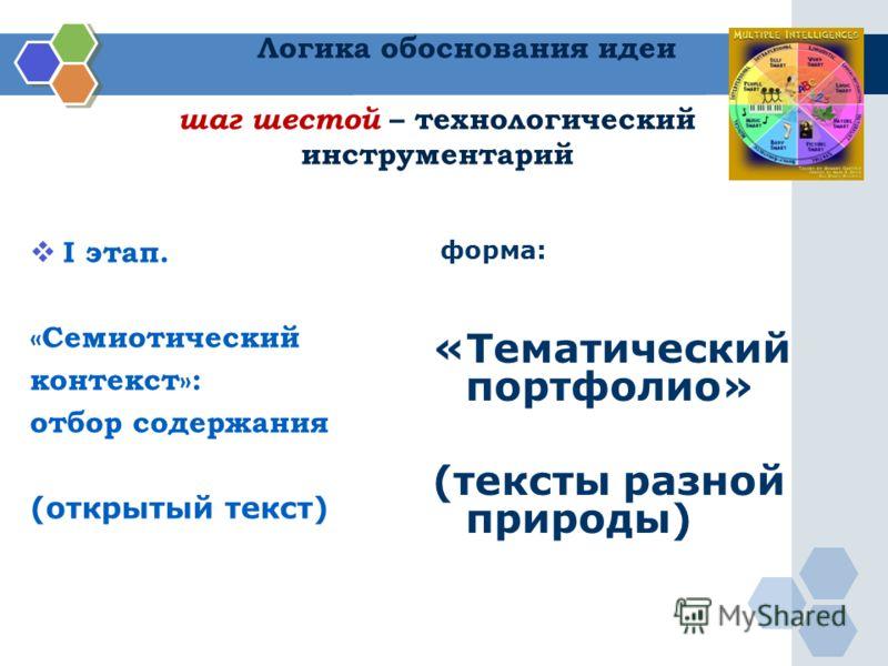 Логика обоснования идеи шаг шестой – технологический инструментарий I этап. «Семиотический контекст»: отбор содержания (открытый текст) форма: «Тематический портфолио» (тексты разной природы)