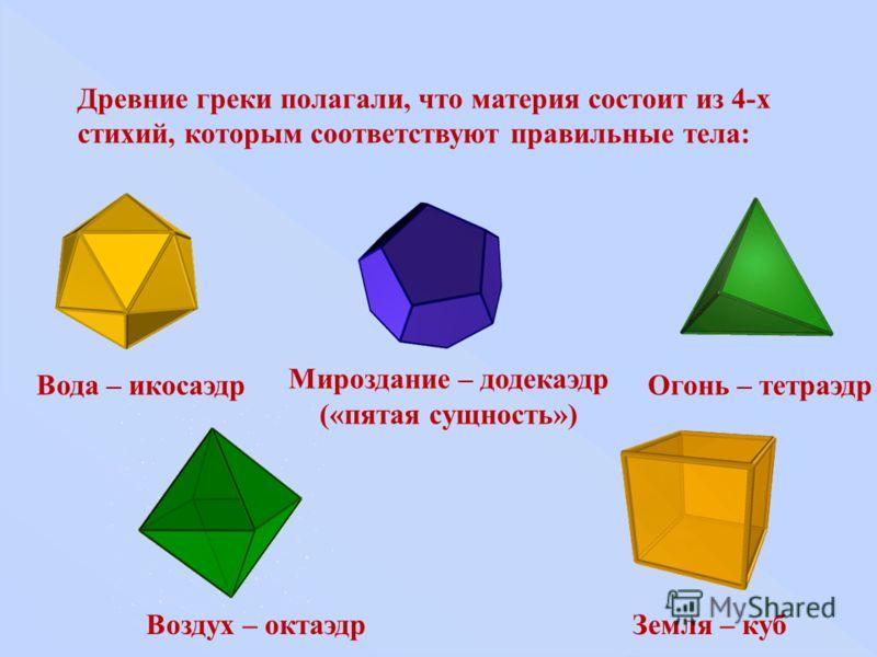 Древние греки полагали, что материя состоит из 4-х стихий, которым соответствуют правильные тела: Мироздание – додекаэдр («пятая сущность») Огонь – тетраэдр Воздух – октаэдрЗемля – куб Вода – икосаэдр