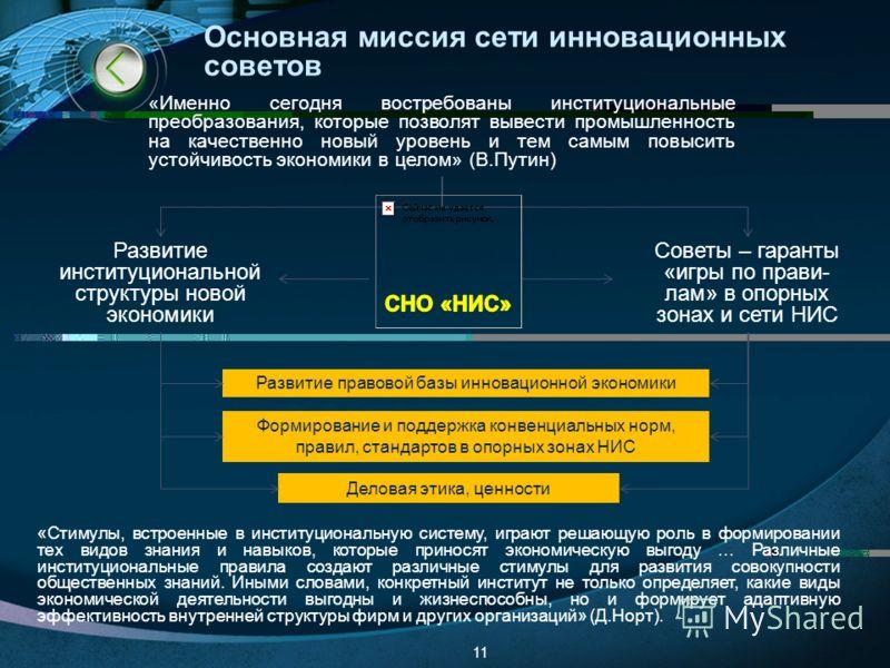 Основная миссия сети инновационных советов 11 Развитие институциональной структуры новой экономики Советы – гаранты «игры по прави- лам» в опорных зонах и сети НИС «Стимулы, встроенные в институциональную систему, играют решающую роль в формировании