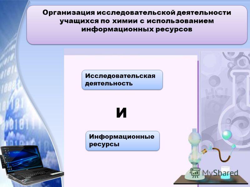 Организация исследовательской деятельности учащихся по химии с использованием информационных ресурсов Организация исследовательской деятельности учащихся по химии с использованием информационных ресурсов Исследовательская деятельность Информационные
