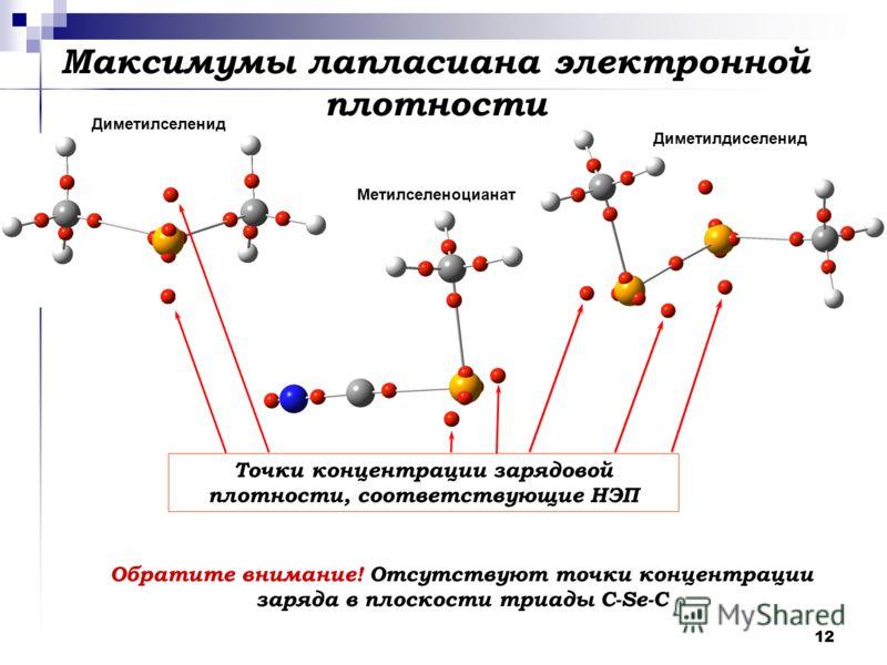 12 Максимумы лапласиана электронной плотности Точки концентрации зарядовой плотности, соответствующие НЭП Обратите внимание! Отсутствуют точки концентрации заряда в плоскости триады С-Se-C Диметилселенид Метилселеноцианат Диметилдиселенид