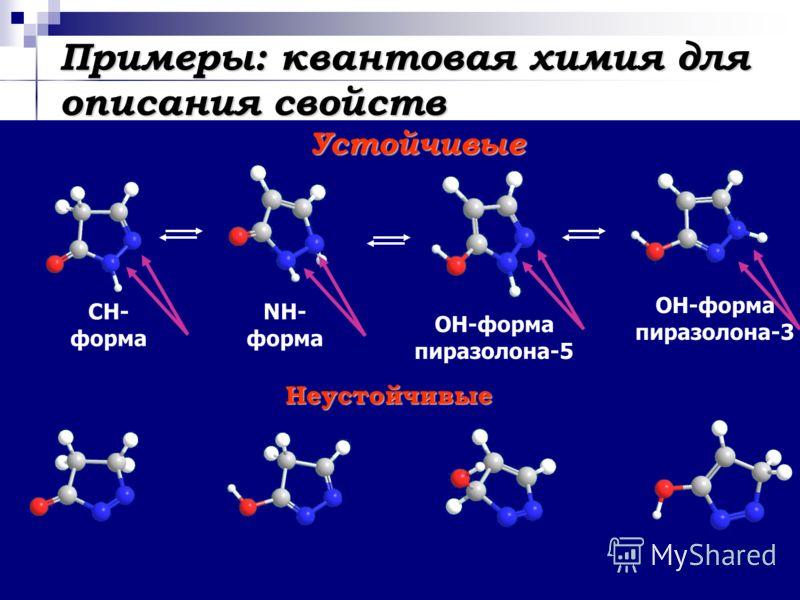 Примеры: квантовая химия для описания свойств СН- форма ОН-форма пиразолона-3 ОН-форма пиразолона-5 NH- форма Неустойчивые Устойчивые