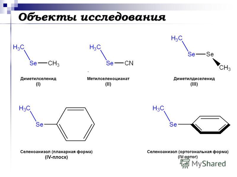 Объекты исследования Диметилселенид (I) Метилселеноцианат (II) Диметилдиселенид (III) Селеноанизол (планарная форма) (IV-плоск) Селеноанизол (ортогональная форма) (IV-ортог)