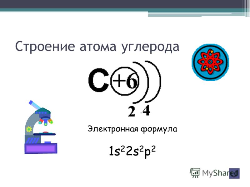 2 период IV группа Главная подгруппа А Z=6 А (С)=12 Р 1 1 =6 n 1 0 =6 ē=6 Природный углерод состоит из двух стабильных нуклидов: 12С, 98,892% по массе и 13C 1,108%. В природной смеси нуклидов в ничтожных количествах всегда присутствует радиоактивный