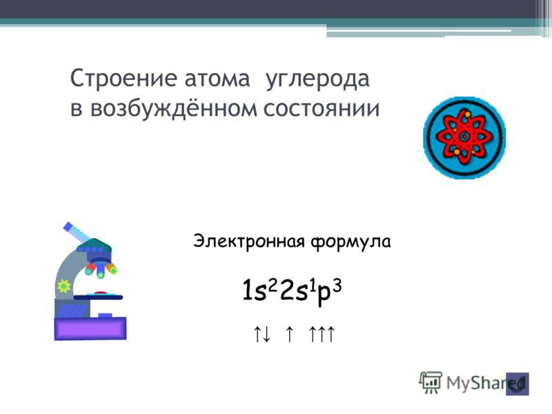 Строение атома углерода Электронная формула 1s 2 2s 2 p 2