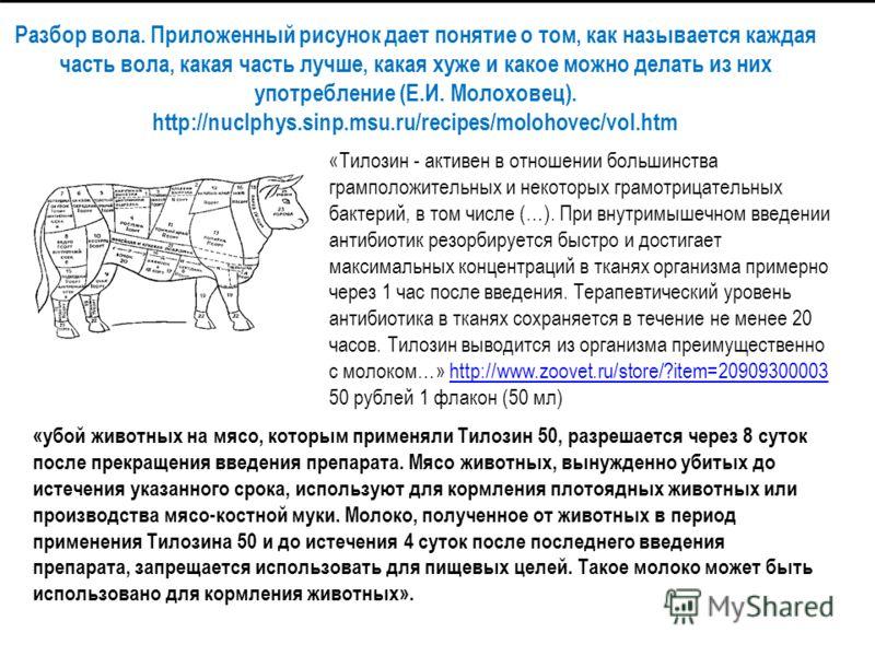 Разбор вола. Приложенный рисунок дает понятие о том, как называется каждая часть вола, какая часть лучше, какая хуже и какое можно делать из них употребление (Е.И. Молоховец). http://nuclphys.sinp.msu.ru/recipes/molohovec/vol.htm «Тилозин - активен в