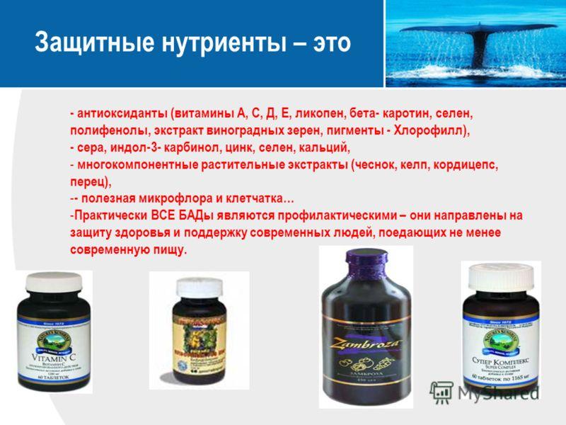 Защитные нутриенты – это - антиоксиданты (витамины А, С, Д, Е, ликопен, бета- каротин, селен, полифенолы, экстракт виноградных зерен, пигменты - Хлорофилл), - сера, индол-3- карбинол, цинк, селен, кальций, - многокомпонентные растительные экстракты (