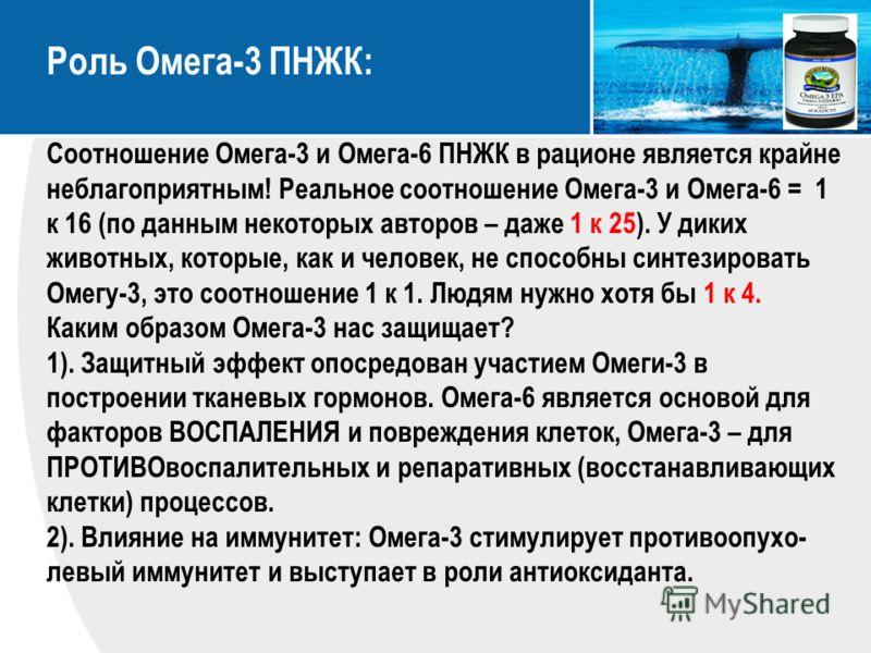 Роль Омега-3 ПНЖК: Соотношение Омега-3 и Омега-6 ПНЖК в рационе является крайне неблагоприятным! Реальное соотношение Омега-3 и Омега-6 = 1 к 16 (по данным некоторых авторов – даже 1 к 25). У диких животных, которые, как и человек, не способны синтез