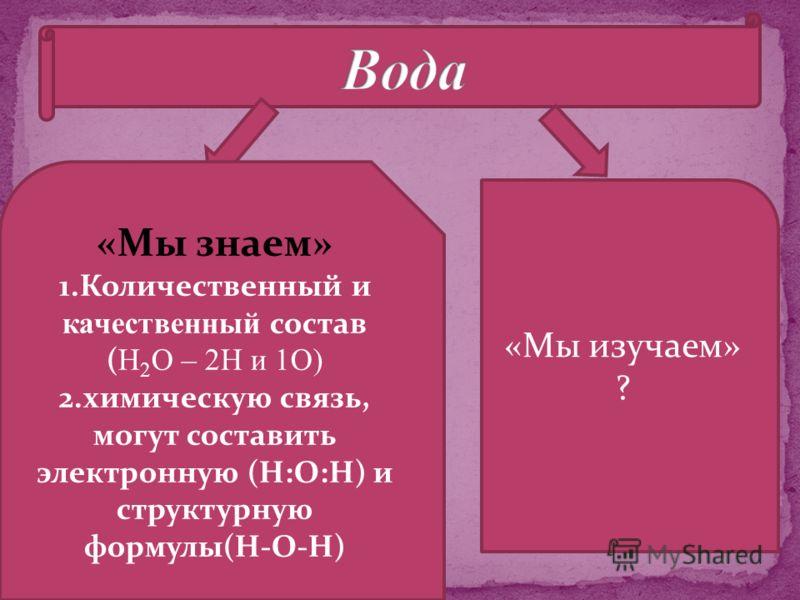 «Мы знаем» 1.Количественный и качественный состав ( Н 2 О – 2Н и 1О) 2.химическую связь, могут составить электронную (Н:О:Н) и структурную формулы(Н-О-Н) «Мы изучаем» ?